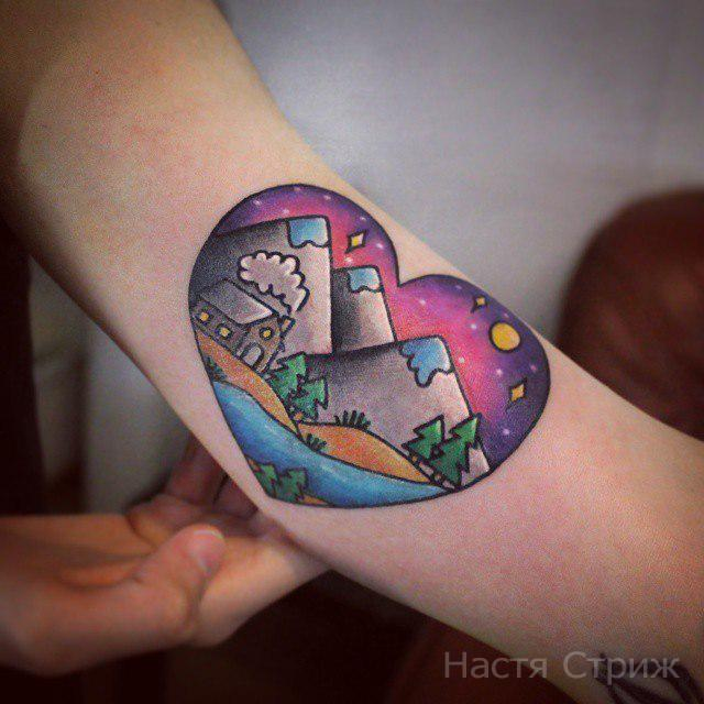 Художественная татуировка «Пейзаж». Мастер — Настя Стриж