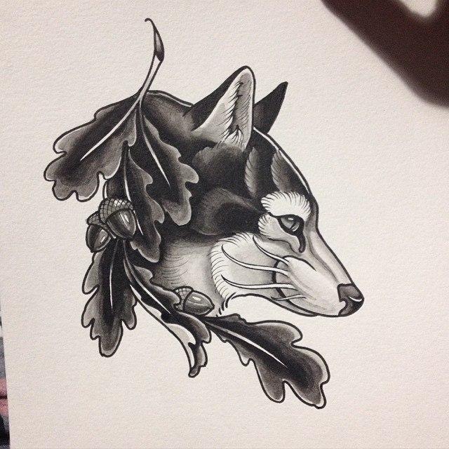 Эскиз волка от Павла Заволоки.