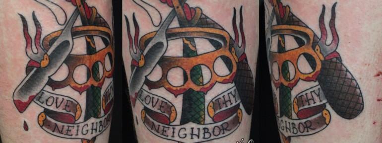 Художественная татуировка «Опасная бритва» от Данилы-Мастера