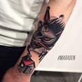 Художественная татуировка «Дым». Мастер — Денис Марахин. Расположение — предплечье. Время работы — 3 часа. По собственному эскизу.