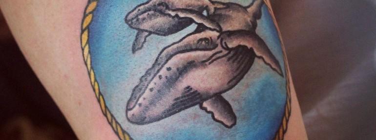 Художественная татуировка «Киты». Мастер — Настя Стриж