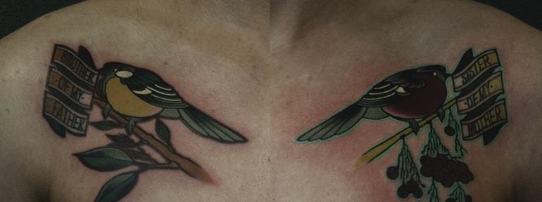 Художественная татуировка «Птицы» от Валеры