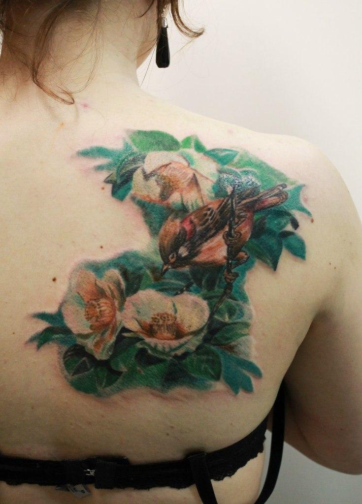 Художественная татуировка «Птичка». Мастер Анастасия Енот.