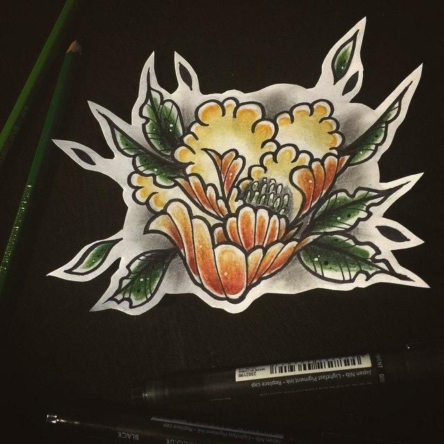 Свободный эскиз «Пион» от мастера художественной татуировки Берёзы.