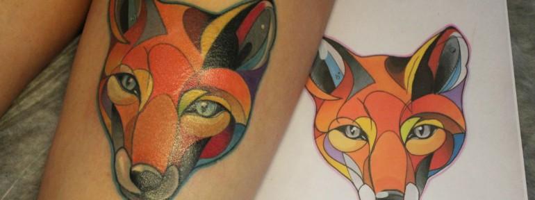 Художественная татуировка «Лиса». Мастер — Саша Новик