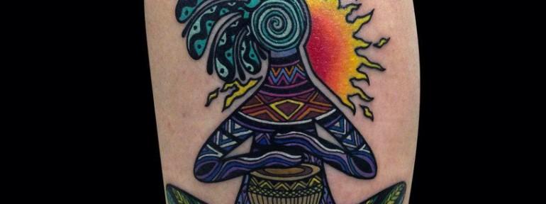 Художественная татуировка «Кокопелли». Мастер Мадина Mary Jane.