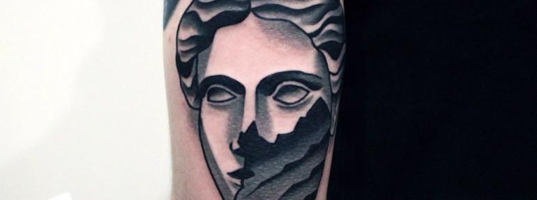 Художественная татуировка «Голова». Мастер — Денис Марахин
