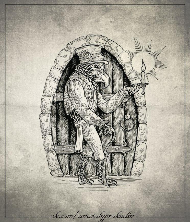 Свободный эскиз «Ворон» от мастера художественной татуировки Анатолия Прокудина.
