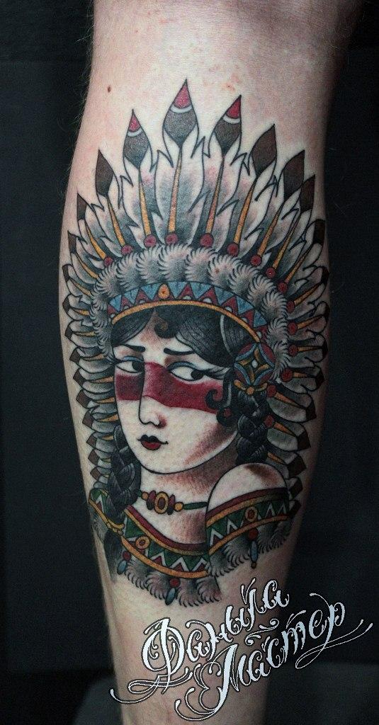 Художественная татуировка «Индеанка» от Данилы-Мастера
