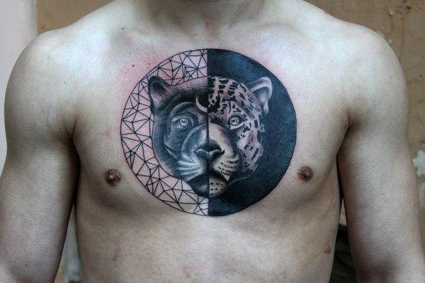 Художественная татуировка «Пантера» от Нияза Фахриева.
