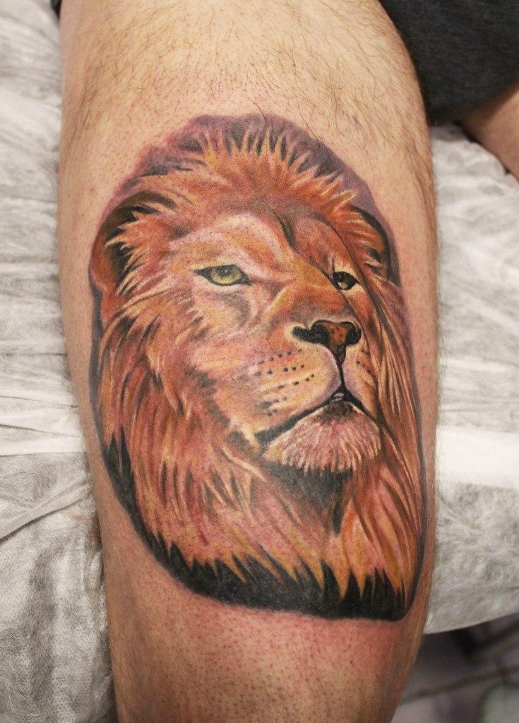 Художественная татуировка «Лев». Мастер Анастасия Енот.