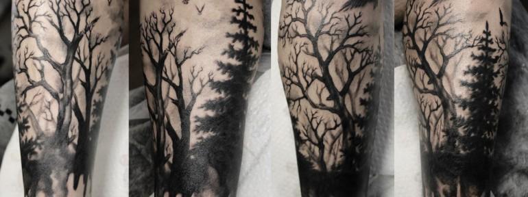 Художественная татуировка «Лес». Мастер — Анна Корь