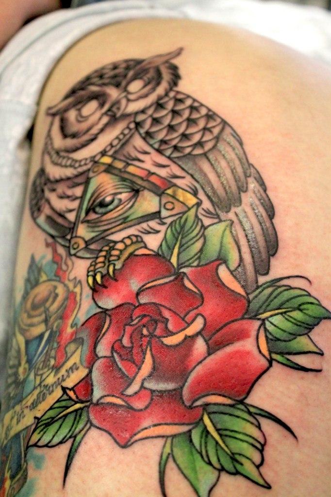 Художественная татуировка «Сова». Мастер — Анна Корь