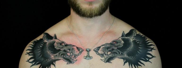 Художественная татуировка «Волки». Мастер — Саша Новик
