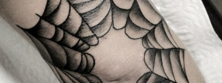 Художественная татуировка «Паутина». Мастер — Анна Корь