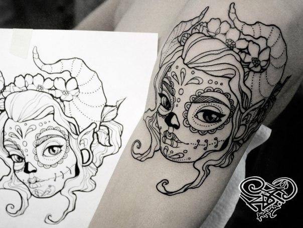 Художественная татуировка «Эльфийка». Мастер — Анна Корь.