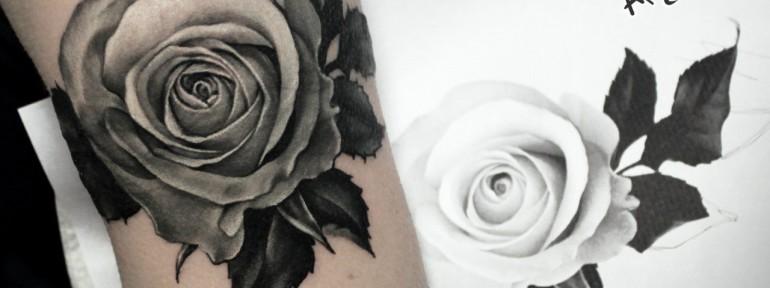 Художественная татуировка «Роза». Мастер — Анна Корь