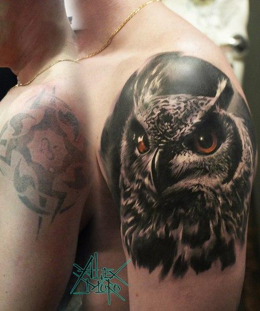 Художественная татуировка «Сова» от мастера Александра Морозова
