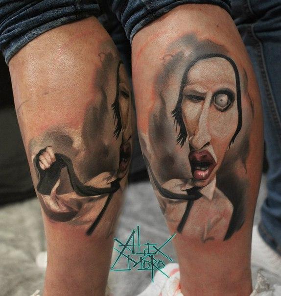 Художественная татуировка «Мэрилин Мэнсон» от Александра Морозова