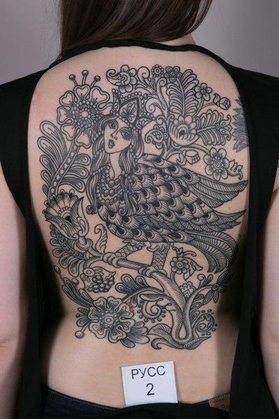 Художественная татуировка «Гамаюн». Мастер Виолетта Доморад.