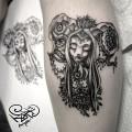 Художественная татуировка «Девушка». Мастер — Анна Корь. Расположение — икра. Время работы — 2 часа. По собственному эскизу.
