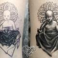 Художественная татуировка «Маленький буддист». Мастер — Анна Корь. Расположение — Голень. Время работы — 1,5 часа. По собственному эскизу.