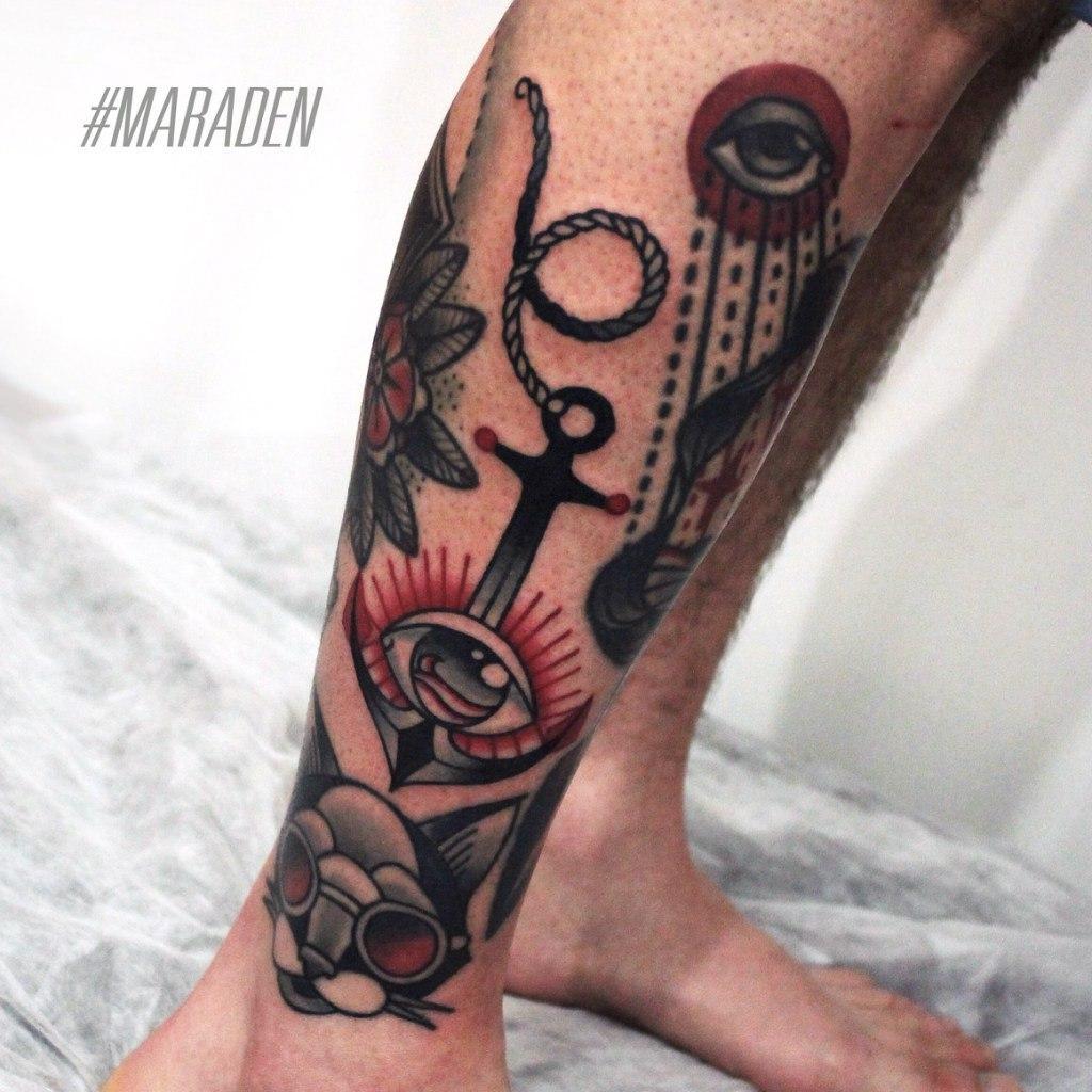 Художественная татуировка «Якорь». Мастер — Денис Марахин. Расположение — голень. Время работы — 1,5 часа. По своему эскизу.