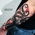 Художественная татуировка «Осьминог». Мастер — Денис Марахин. Расположение — предплечье. Время работы — 3 часа. По своему эскизу.