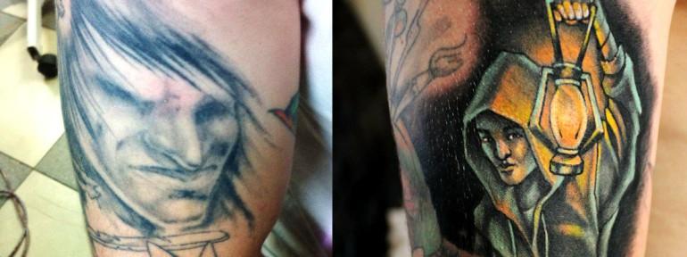 Перекрытие старой татуировки. Мастер — Анна Корь.