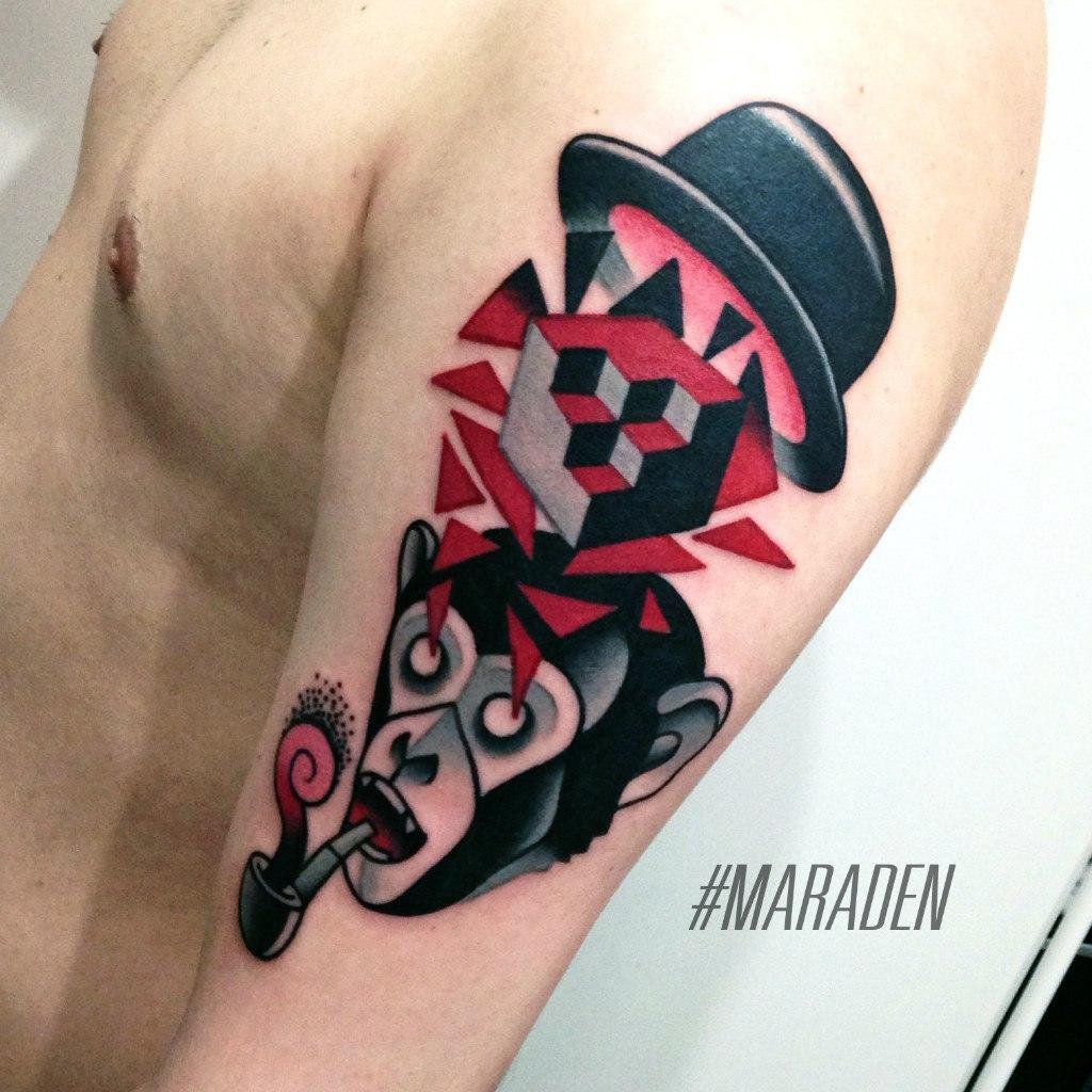 Художественная татуировка «Обезьяна». Мастер — Денис Марахин. Расположение — плечо. Время работы — 3 часа. По своему эскизу.