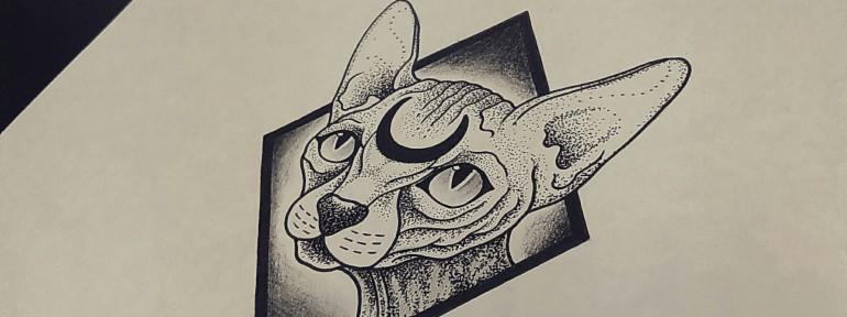 Свободный эскиз «Кот». Мастер Кирилл Сварт.