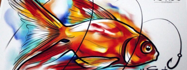Свободный эскиз «Золотая рыбка». Мастер Ян Енот.