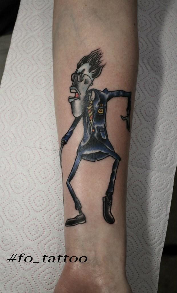 """Художественная татуировка """"Учитель"""". Мастер - Фоля Фо. Расположение - предплечье. Время работы - 3 часа. По идее клиента."""
