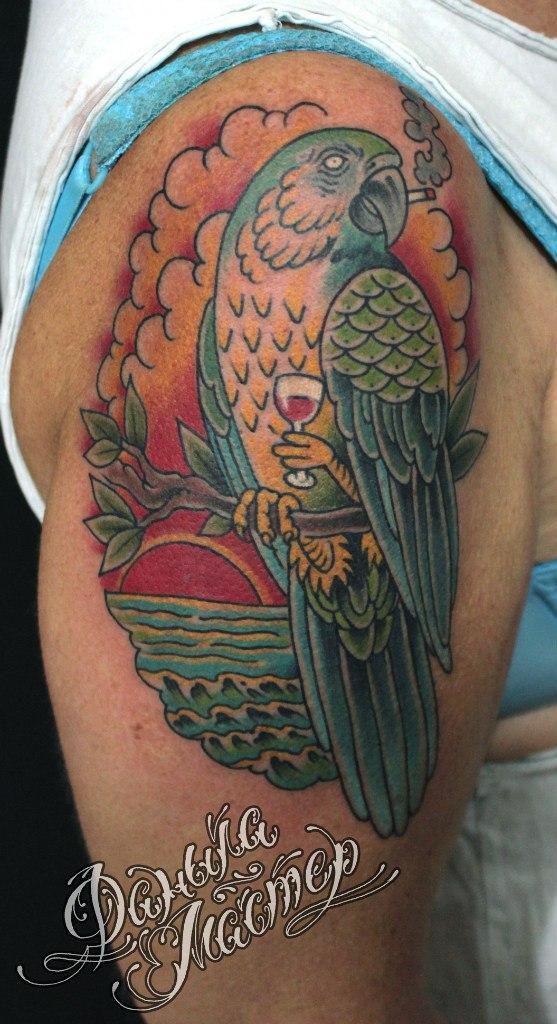 Художественная татуировка «Попугай» от Данилы-Мастера