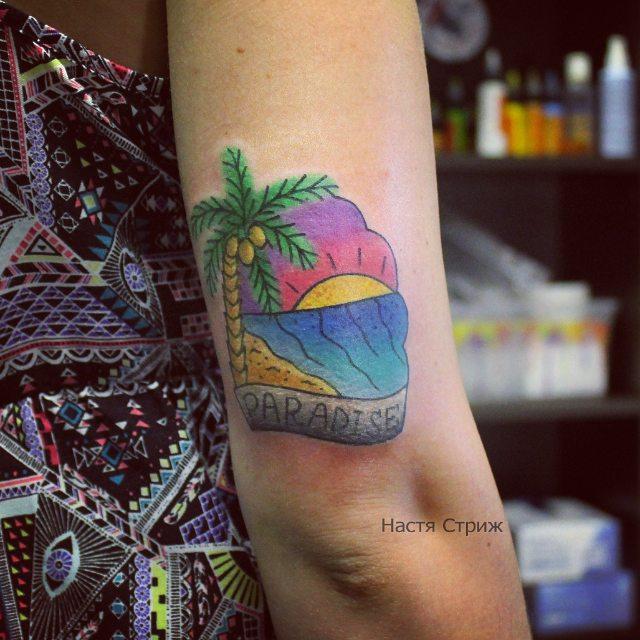 Художественная татуировка «Paradise». Мастер Настя Стриж.