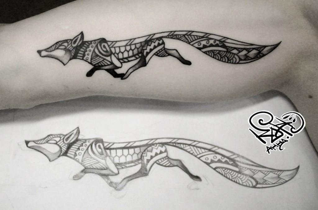 Художественная татуировка «Лиса». Мастер — Анна Корь. Расположение — внутренняя сторона плеча. Время работы —1 час. По своему эскизу.
