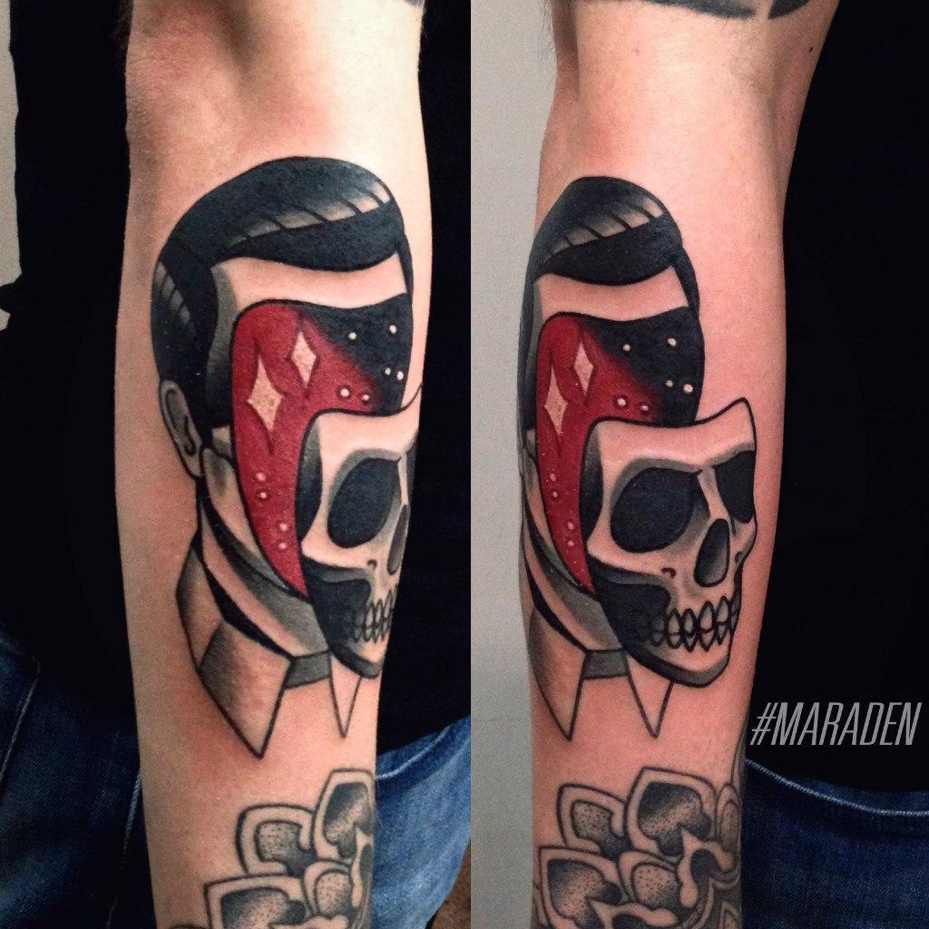 Художественная татуировка «Мужчина». Мастер — Денис Марахин. Расположение — предплечье. Время работы — 2,5 часа. По своему эскизу.