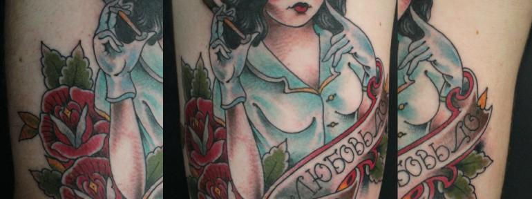 Художественная татуировка «Любовь до гроба» от Данилы-Мастера