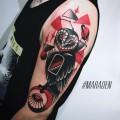 Художественная татуировка «Сова». Мастер — Денис Марахин. Расположение — плечо. Время работы — 4 часа. По своему эскизу.