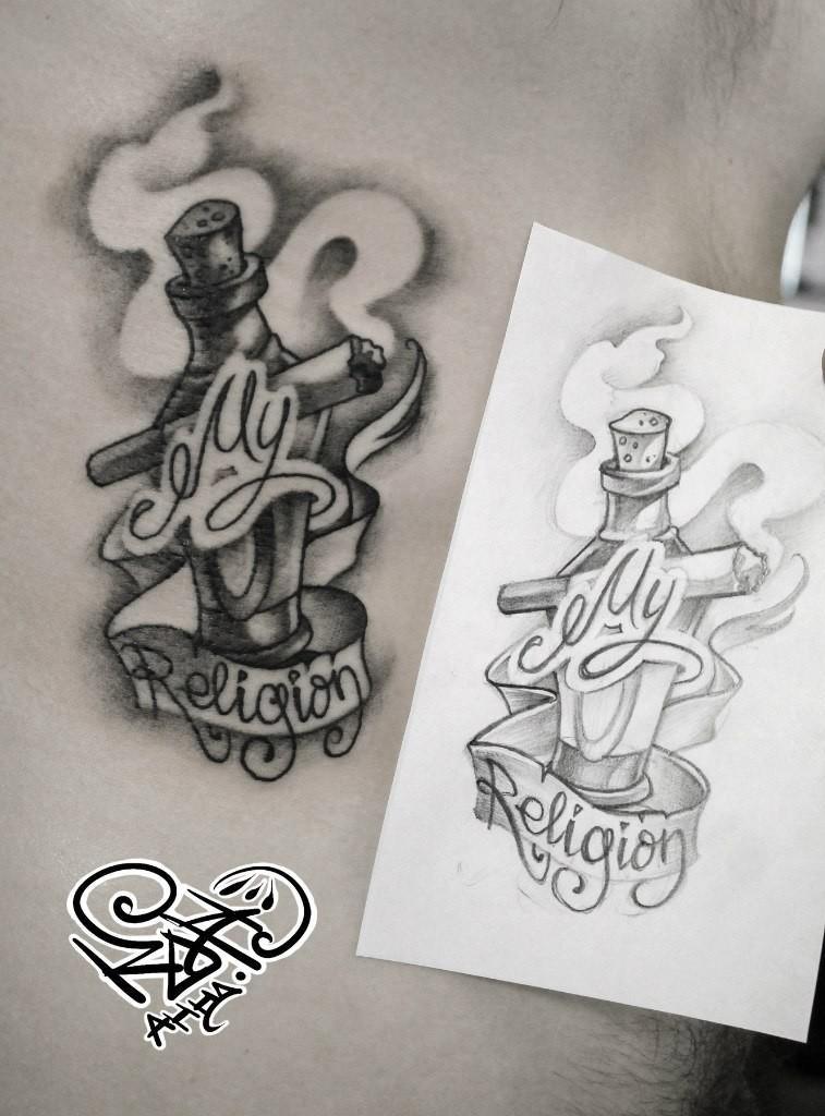 Художественная татуировка «My religion». Мастер — Анна Корь. Расположение — ребра. Время работы — 1 час. По своему эскизу.