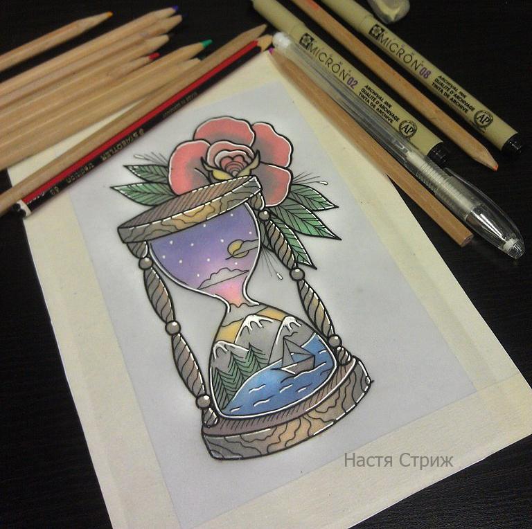 Свободный эскиз «Песочные часы». Мастер Настя Стриж.
