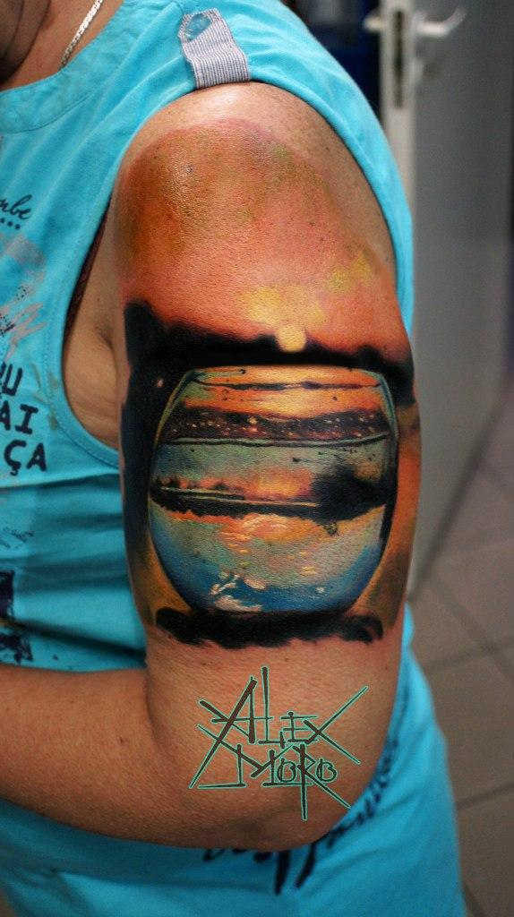 Художественная татуировка «Аквариум» от Александра Морозова