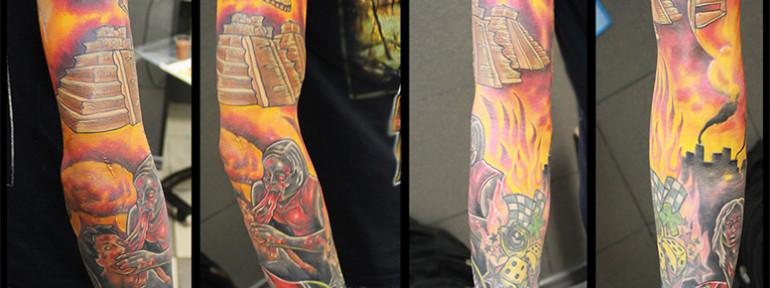 Художественная татуировка «Апокалипсис». Мастер Женя-Химик.