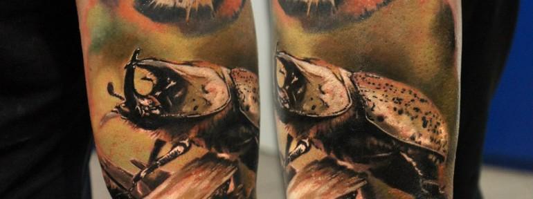 Художественная татуировка «Жук» от Александра Морозова