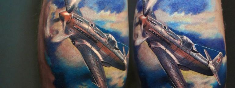 Художественная татуировка «Самолёт» от Александра Морозова