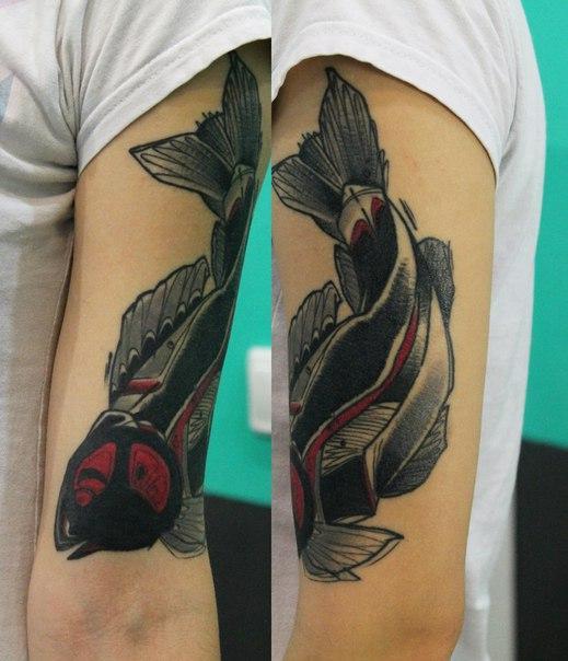 Художественная татуировка «Рыба». Мастер — Саша Новик.
