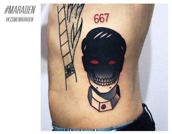 Художественная татуировка «Голова». Мастер — Денис Марахин.