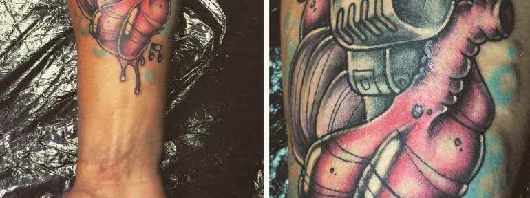 Художественная татуировка «музыка в сердце». Мастер Илья Берёза