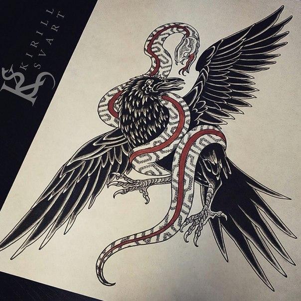 Свободный эскиз «Птица и змея». Мастер Кирилл Сварт.