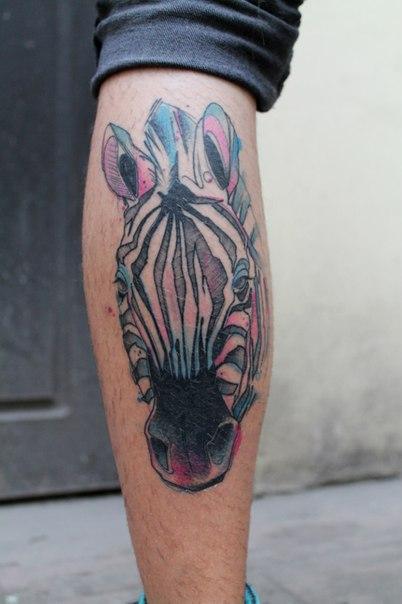 Художественная татуировка «Зебра». Мастер — Саша Новик.